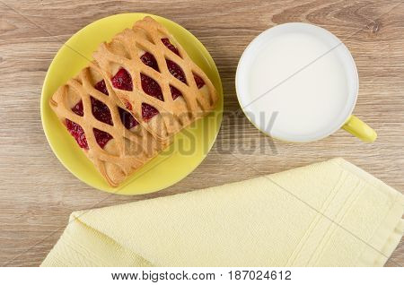Pie In Yellow Saucer, Cup Of Milk And Napkin