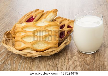 Pies With Cottage Cheese And Jam In Wicker Basket