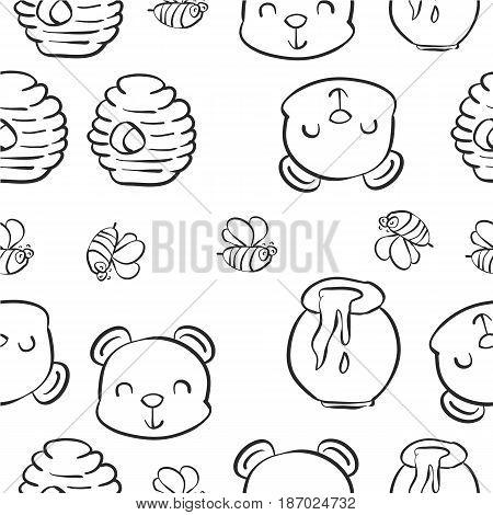 Hand draw bear honey pattern style vector art
