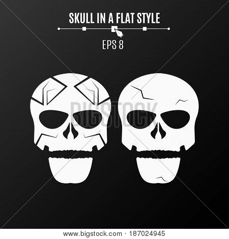 Abstract skulls of white color on a black background. Strict pattern and cracks. Vector illustration. ESP 8