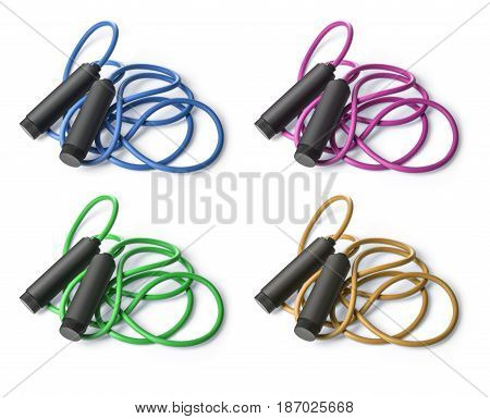 skipping rope for an exercise isolated on white. with clipping path
