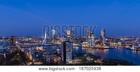 Rotterdam The Netherlands - March 24 2017: Panorama taken from the Euromast in the Netherlands with Erasmus bridge offices skyscrapers river Nieuwe Maas and city centre.