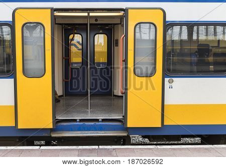 Rotterdam The Netherlands - March 10 2017: Door of a train in railway station of Rotterdam in the Netherlands.
