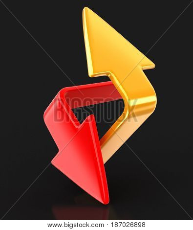 3d illustration. Two arrows. Image with clipping path