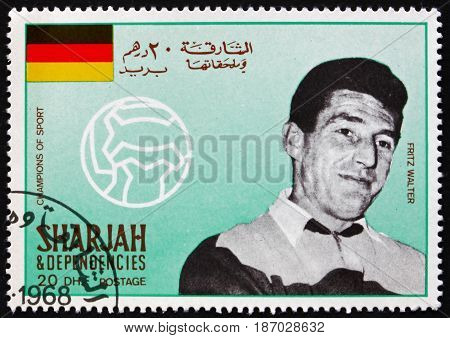 SHARJAH - CIRCA 1968: a stamp printed in Sharjah UAE shows Friedrich Fritz Walter Famous Soccer Player circa 1968