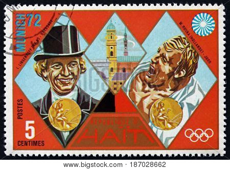 HAITI - CIRCA 1972: a stamp printed in Haiti shows Linsenhoff and Ruska Gold Medal Winners 1972 Summer Olympic Games Munich circa 1972