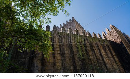 Guimarães Portugal - august 15 2014 : View of one of the walls of the imposing castle of Guimarães Portugal