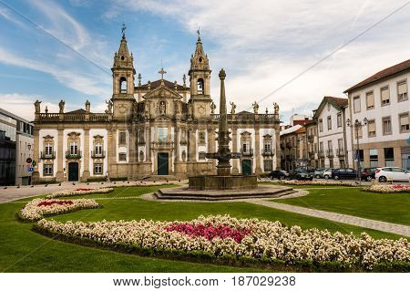 Braga Portugal - August 23 2014 : Former São Marcos Hospital in the city of Braga Portugal