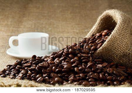 Sack caffeine coffee coffee beans fresh coffee bag cup