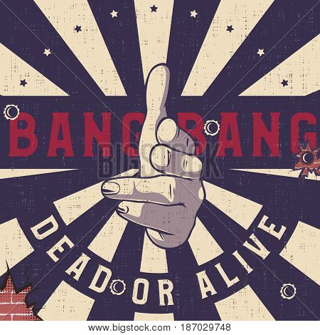 Bang-bang hand gun gesture sign Vintage explosion background. Shooting fingers pointing on camera (viewer).
