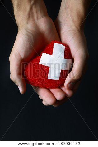 Cupped hands heartbreak heartbroken breaking heart plaster heart broken heart problems