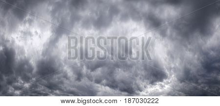 Panorama of a gloomy sky with storm clouds
