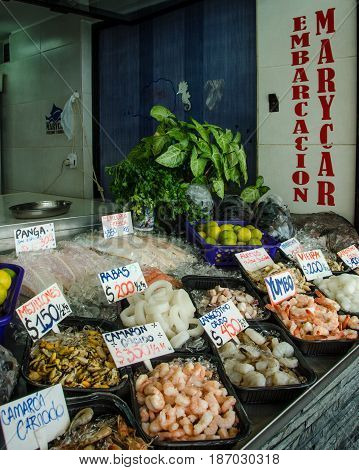 PUNTA DEL ESTE - URUGUAY, MARCH 3, 2017: Fresh seafood is for sale at an outdoor fish market on the dock of the popular resort city on the Atlantic coast.