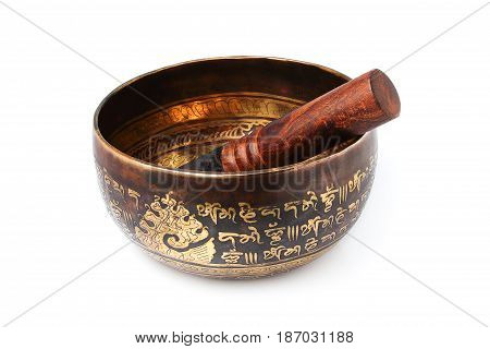 Tibetian singing bowl isolated on white background.