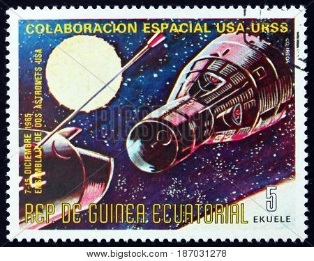 EQUATORIAL GUINEA - CIRCA 1975: a stamp printed in Equatorial Guinea dedicated to Cooperation Spatial USA and USSR Apollo-Soyuz Space Project circa 1975