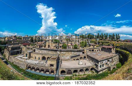 Panoramic View Of Herculaneum Ancient Roman Ruins