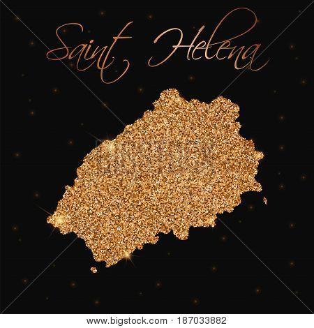 Saint Helena Map Filled With Golden Glitter. Luxurious Design Element, Vector Illustration.