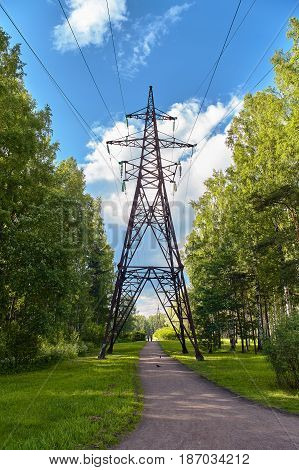high voltage post.High-voltage tower sky background. High Voltage Electric Tower. Power concept