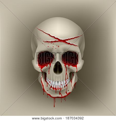 Halloween Cut Blood Skull with Slashes. Bleeding Human Skull