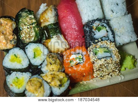 Sushi And Rolls On A Rectangular Plate
