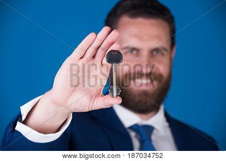 Businessman Or Man With Key In Suit, Deposit And Credit