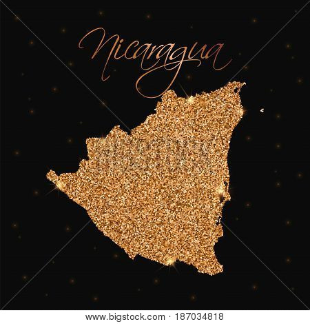 Nicaragua Map Filled With Golden Glitter. Luxurious Design Element, Vector Illustration.