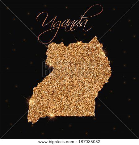 Uganda Map Filled With Golden Glitter. Luxurious Design Element, Vector Illustration.