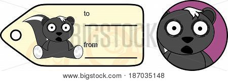 sweet little skunk cartoon gift card in vector format