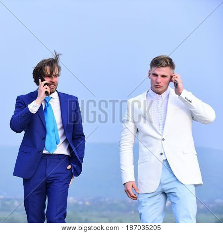 men speaking on phone communication and discussion meeting and partnership digial marketing agile business business and success boss and employee