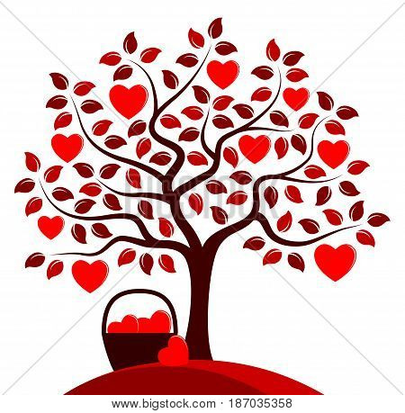 vector heart tree and basket of hearts isolated on white background