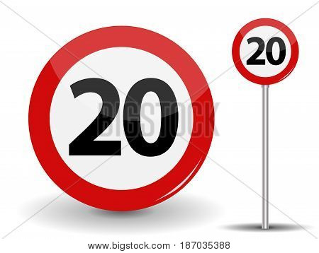 Round Red Road Sign Speed limit 20 kilometers per hour. Vector Illustration. EPS10
