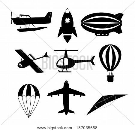 set of air transports. Vector. Different air transports
