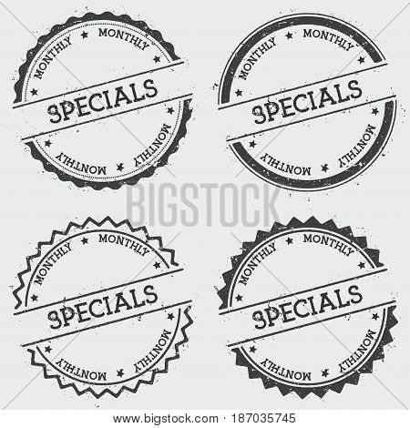 Specials Monthly Insignia Stamp Isolated On White Background. Grunge Round Hipster Seal With Text, I