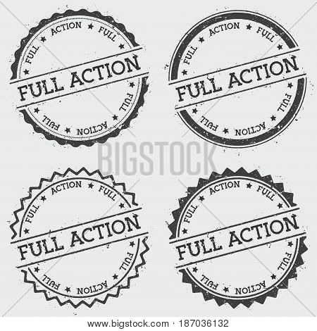 Full Action Insignia Stamp Isolated On White Background. Grunge Round Hipster Seal With Text, Ink Te