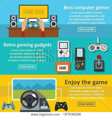 Video game banner horizontal concept set. Flat illustration of 3 video game vector banner horizontal concepts for web