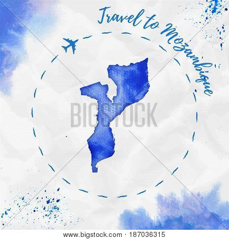 Mozambique Watercolor Map In Blue Colors. Travel To Mozambique Poster With Airplane Trace And Handpa