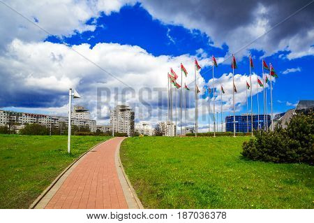 Belarus Minsk 11 May 2017; panoramic view of the buildings of the architectural complex
