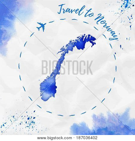 Norway Watercolor Map In Blue Colors. Travel To Norway Poster With Airplane Trace And Handpainted Wa