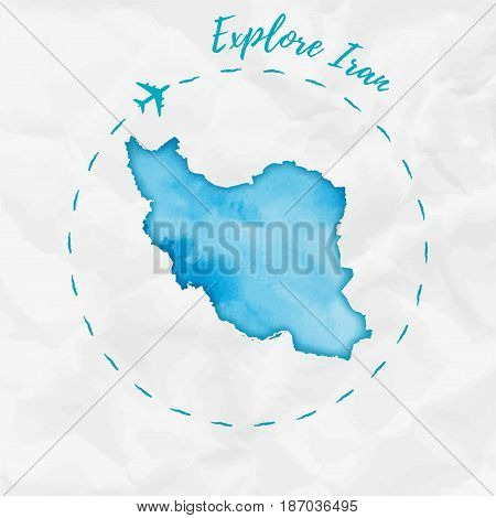 Iran Watercolor Map In Turquoise Colors. Explore Iran Poster With Airplane Trace And Handpainted Wat