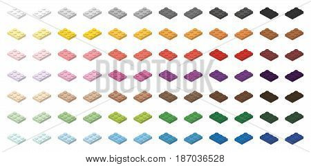 Children brick toy simple colorful bricks 3x2 low, isolated on white background