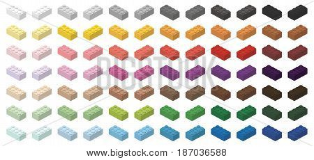 Children brick toy simple colorful bricks 4x2 high, isolated on white background