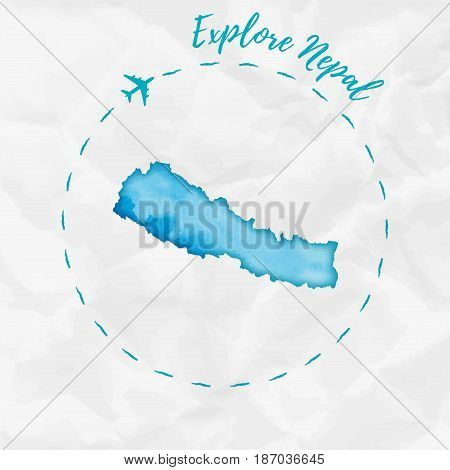 Nepal Watercolor Map In Turquoise Colors. Explore Nepal Poster With Airplane Trace And Handpainted W