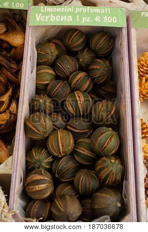 View of dried lemons used for aromatherapy and smell nice
