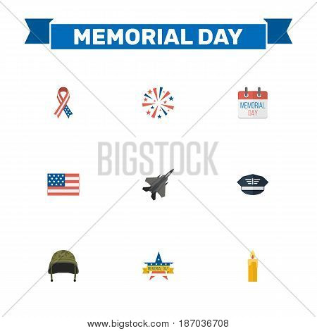 Flat Aircraft, Hat, Soldier Helmet And Other Vector Elements. Set Of Memorial Flat Symbols Also Includes Firework, Fighter, Soldier Objects.