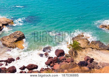 A View Of The Turquise Color Of The Sea From Above.