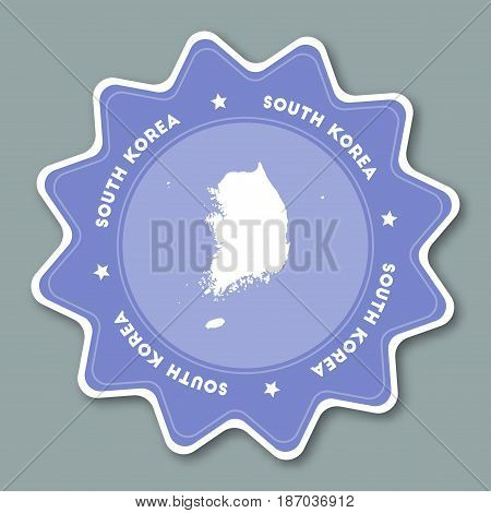 Korea, Republic Of Map Sticker In Trendy Colors. Star Shaped Travel Sticker With Country Name And Ma