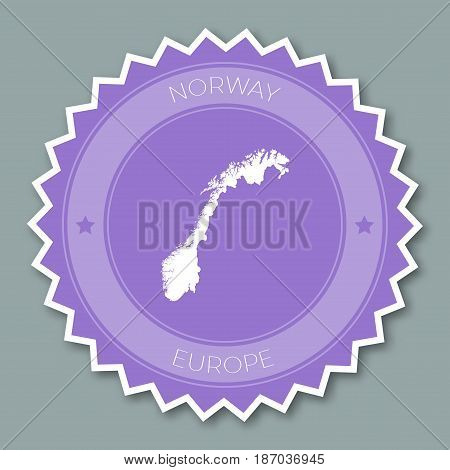 Norway Badge Flat Design. Round Flat Style Sticker Of Trendy Colors With Country Map And Name. Count