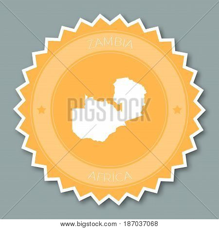Zambia Badge Flat Design. Round Flat Style Sticker Of Trendy Colors With Country Map And Name. Count