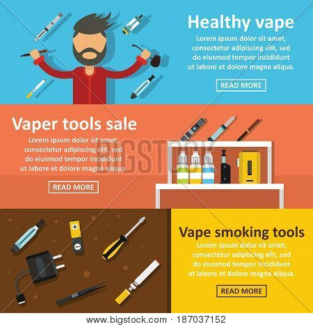 Vape smoking banner horizontal concept set. Flat illustration of 3 vape smoking vector banner horizontal concepts for web
