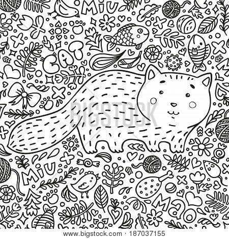Coloring page. Hand-drawn illustration. Perfect antistress. A fat red cat surrounded by flowers, fish, toys and other feline staff. Doodle style. Black and white contours. Vector.